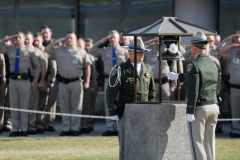 Officers take part in a Memorial Bell Ceremony in honor of officer Andrew J. Camilleri at the California Highway Patrol Academy Quad on Wednesday, Dec. 27, 2017 in West Sacramento, Calif. CHP officer Andrew J. Camilleri was killed in the line of duty by a drunk driver as he and his partner were on patrol. (Laura A. Oda/Bay Area News Group)